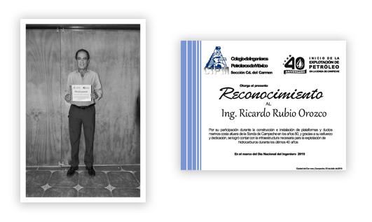 Ingeniero Ricardo Rubio Orozco, Reconocimiento